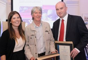 Alice Cronshaw from Astellas with commended finalists Steve Connor of The Independent, centre, and Andy Gregory of the Daily Mirror